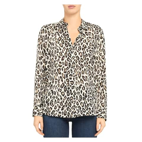 THEORY Womens White Animal Print Long Sleeve Collared Top Size P