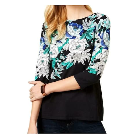 Charter Club Women's Black Blue Size XXL Plus Floral-Print Blouse