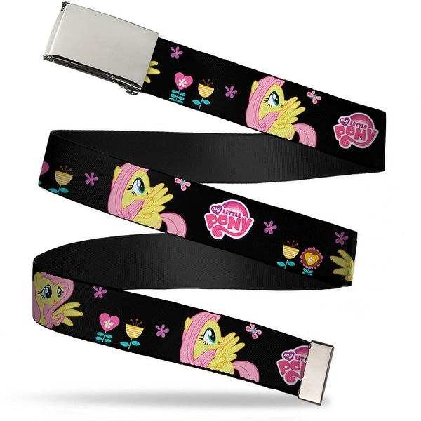Blank Chrome Buckle Fluttershy Garden Poses Black Pinks Turquoise Web Belt