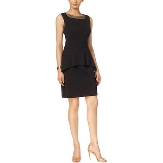 Connected Apparel Womens Petites Wear to Work Dress Crepe Embellished Neck