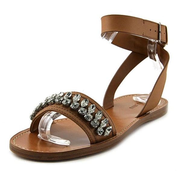 Miu Miu Vit. Montana 2 Women Open Toe Leather Brown Gladiator Sandal