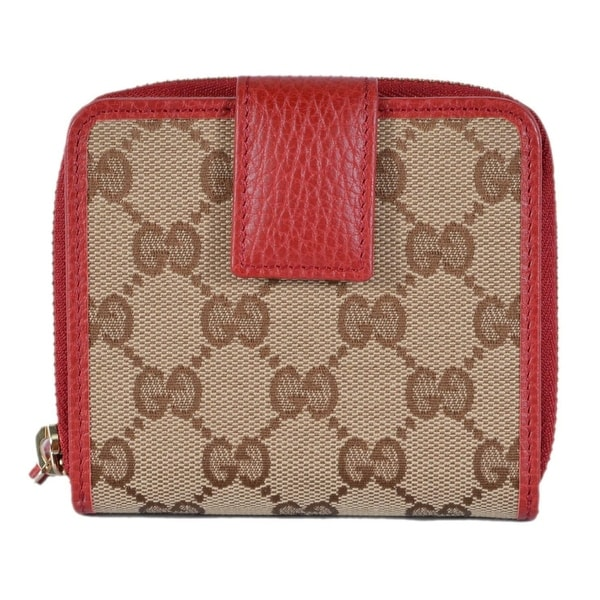 b7e58d58dffe47 Gucci Women's 346056 Beige Red GG Guccissima French Zip Around Wallet -