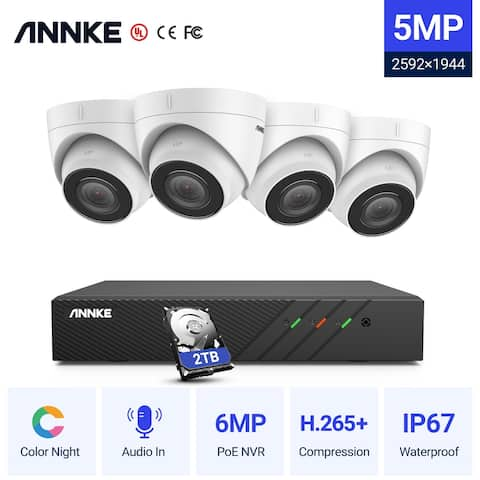 ANNKE 8CH 5MP PoE Turret Security Camera System with 6MP NVR Audio Recording with Built-in Mic-2TB - With 2TB