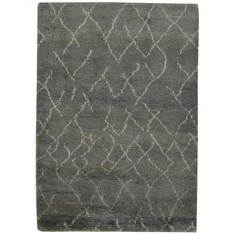 "One of a Kind Hand-Knotted Shag 4' x 6' Geometric Wool Grey Rug - 4'0""x5'10"""