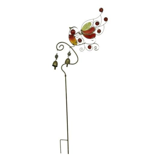 Colorful Glass Bird Decorative Metal Garden Yard Stake Free