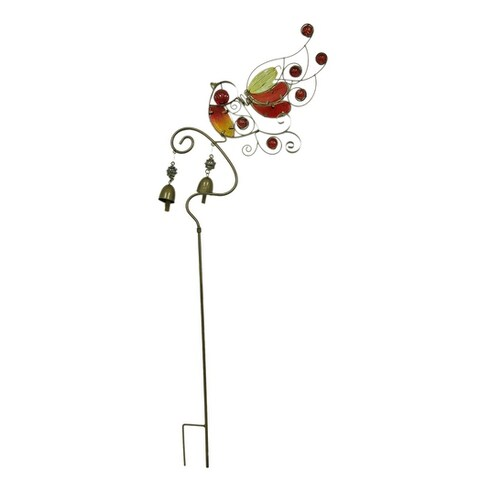 Colorful Glass Bird Decorative Metal Garden Yard Stake