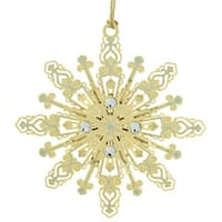 "3.25"" 24K Gold Finished Jeweled Radiant Christmas Snowflake Ornament"