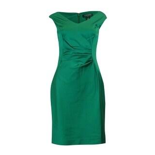 Lauren Ralph Lauren Women's V-Neck Satin Sheath Dress
