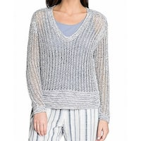 NIC+ZOE Blue Silver Womens Size Large L V-Neck Knitted Sweater