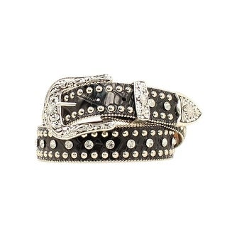 Nocona Western Belt Womens Leather Croc Rhinestone Black N3451001