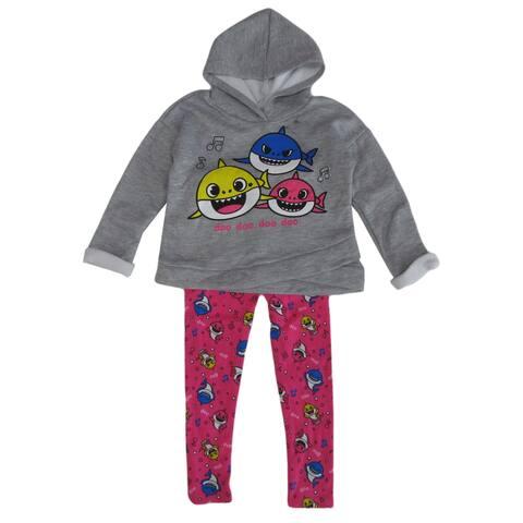 Nickelodeon Grey Pink Baby Shark Hoodie Leggings Set Little Girls
