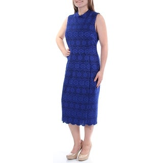 VINCE CAMUTO $148 Womens New 1035 Blue Lace Sleeveless Sheath Dress 6 B+B