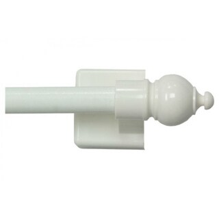 """Kenney KN40344 Petite Cafe Magnetic Curtain Rod, White, 16"""" - 28"""""""