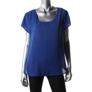 Stoosh Womens Juniors Pullover Top Crepe Short Sleeves - L
