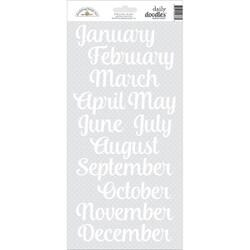 "Lily White Months - Doodlebug Daily Doodles Cardstock Stickers 6""X13"""