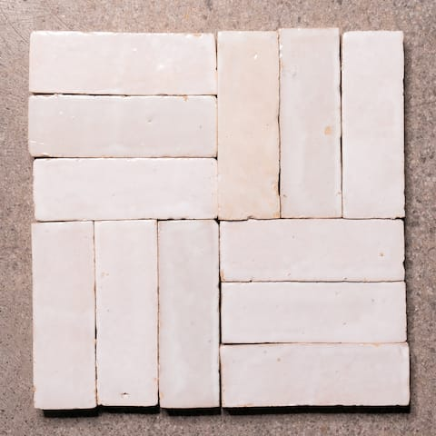Moroccan Handmade 2x6 Solid Color Zellige Tile White