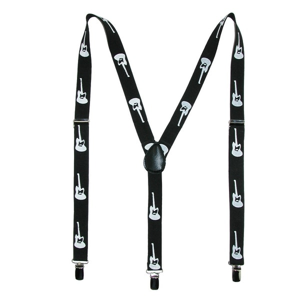 Parquet Elastic Novelty Guitar Print Suspenders - One size