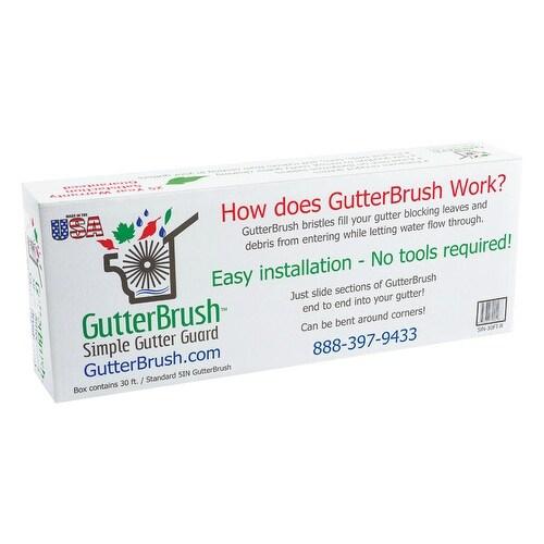 GutterBrush 5IN-30FT-R Drop-In Gutter Guard, Black, 4-1/4