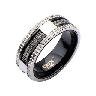 Inox Stainless Steel Black IP Ring with Steel Grid Groove on Sides and Cable. Available Sizes: 9 - 13