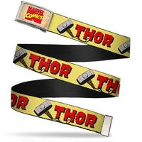 Marvel Comics Marvel Comics Logo Fcg Chrome Thor & Hammer Yellow Red Web Belt