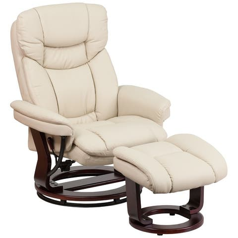 """Contemporary Multi-Position Recliner and Curved Ottoman with Swivel Base - 33""""W x 34"""" - 44.5""""D x 41.25""""H"""