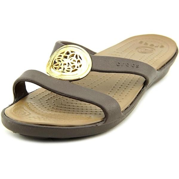 Crocs Sanrah Circle Sandal Women W Open Toe Synthetic Brown Slides Sandal