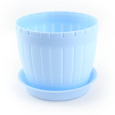 Garden Cylinder Plant Grass Flower Vegetable Planting Holder Pot Blue