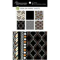 """Black & Gold - Fabric Editions Fusible Sheets 8""""X9"""" 6/Pkg"""