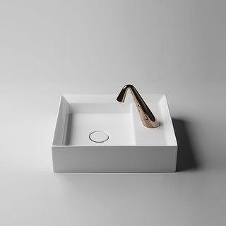 "WS Bath Collections Cut 45.38 Cut 17-7/10"" Ceramic Single Hole Vessel - Gloss White"