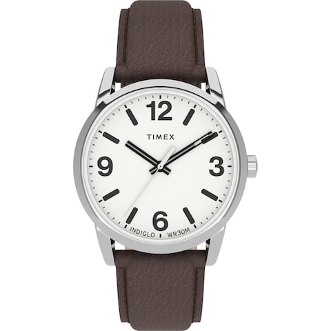Timex Men's Easy Reader Bold 38mm Watch - Silver-Tone Case White Dial with Brown Leather Strap - One Size - One Size