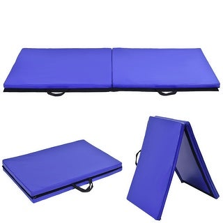 Costway 6'x24''X1.5'' Gymnastics Mat Thick Two Folding Panel Gym Fitness Exercise Blue