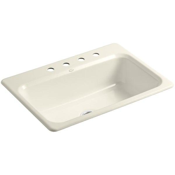 """Kohler K-5832-4 Bakersfield 31"""" Single Basin Top-Mount Enameled Cast-Iron Kitchen Sink"""