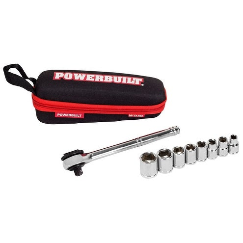 Powerbuilt 11 Piece 3//8-Inch Drive Metric Socket Set with Storage Pouch 941159