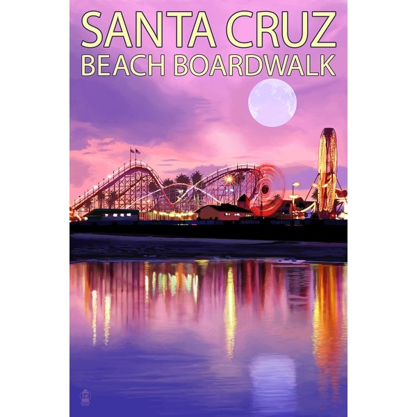 Santa Cruz, CA - Boardwalk & - LP Artwork (Art Print - Multiple Sizes Available)