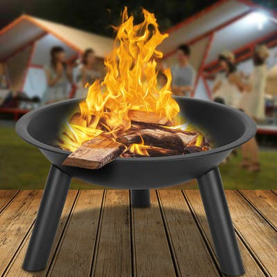 """22"""" Outdoor Iron Fire Pit Bowl Black"""