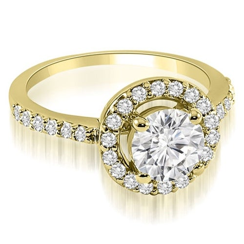 0.75 cttw. 14K Yellow Gold Halo Round Cut Diamond Engagement Ring