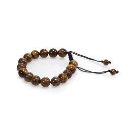 Natural Stone Meditation Stretch Bracelet Tibetan Mala, Tiger Eye, Brown