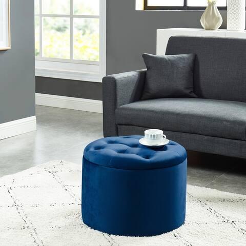 Upholsterd Round Storage Ottoman