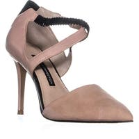 French Connection Elma Closed Pointed Toe Sandals, New Blush/Black - 8 us
