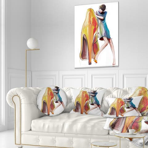 Designart 'Girl in Love with High heel Shoes' Abstract Canvas Art Print