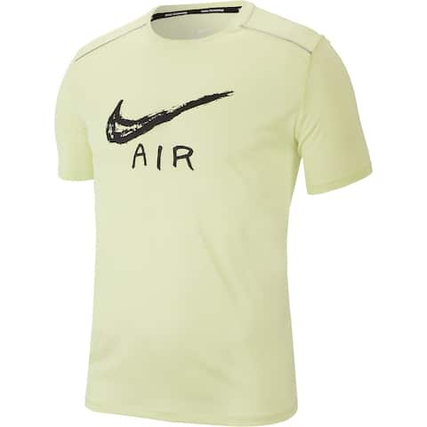 Nike Mens Shirt Light Yellow Size Large L Activewear Short Sleeve Air