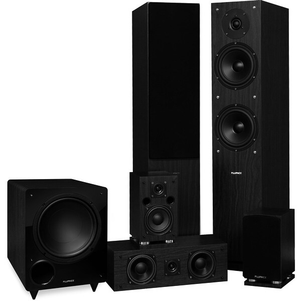 Fluance Elite Series Surround Sound Home Theater 5.1 Channel System - Black Ash (SX51BR)