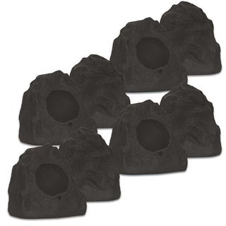 Theater Solutions 4R4L Outdoor Lava Rock 4 Speaker Set for Deck Pool Spa Patio Garden