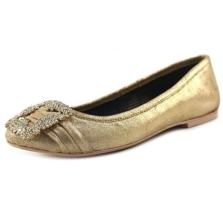 29 Porter Rd Noelle Shimmer Ballet Slipper Women Leather Gold Ballet Flats