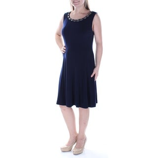 Womens Navy Sleeveless Below The Knee Fit + Flare Dress Size: 10