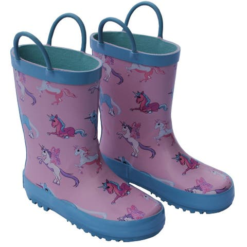 Foxfire Girls Pink Unicorn Print Pull On Handle Rubber Rain Boots