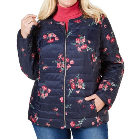 Charter Club Women's Jacket Navy Blue Size 2X Plus Puffer Floral