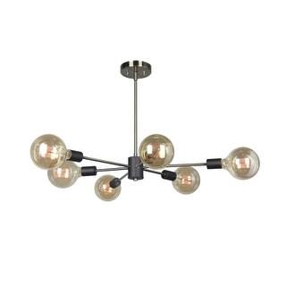 "Woodbridge Lighting 16116-G125 Ethan 31 1/2"" Wide 6 Light Sputnik Style Abstract Single Tier Chandelier with Vintage Bulbs"