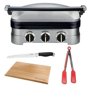 Cuisinart GR-4N Griddler Stainless Steel Grill/Griddle & Panini Press With Deluxe Bundle