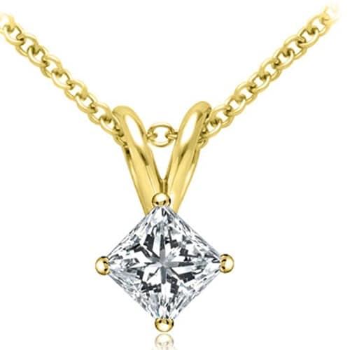 0.50 cttw. 14K Yellow Gold Princess Cut Diamond 4-Prong Basket Solitaire Pendant - White H-I